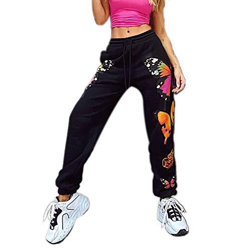 Women's Casual Hip Hop Jogger Harem Pants, High Waisted Stretchy Butterfly Print Sweatpants Lounge Pants