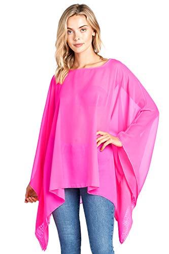 Modern Kiwi Solid Sheer Chiffon Caftan Poncho Tunic Top Hot Pink One Size