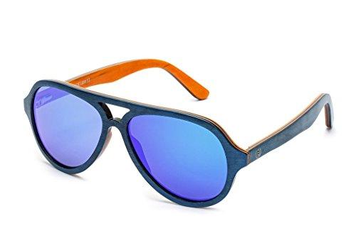 Tree Tribe Wood Aviator Sunglasses - Polarized Lens, Wooden Frames, Bamboo Case - Blue/Orange Frame, Mirror Blue - Wooden Sunglasses For Sale