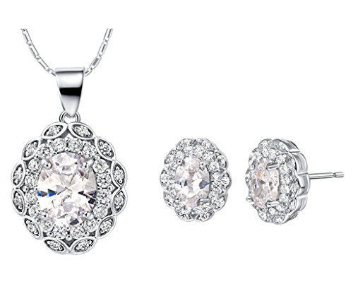 Layla Jewelry 18k White Gold Plated Alloy Swarovski Elements Crystal Jewelry Set include Pendant Necklace and Stud Earrings for Ladies (Swarovski Crystal Gold Plated Necklace)