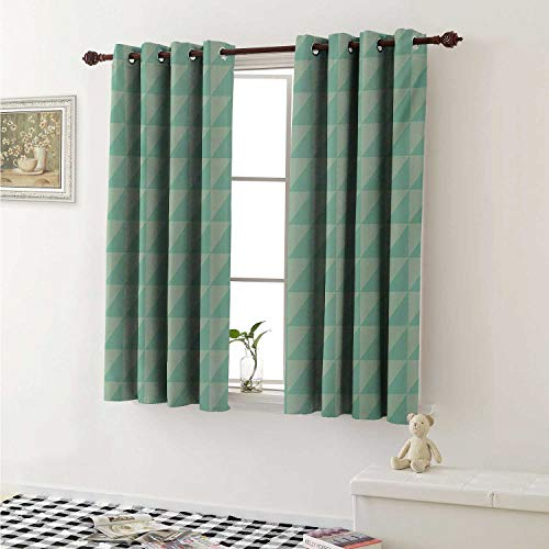 - shenglv Mint Window Curtain Fabric Symmetrical Half Cut Squares with Triangles Retro Style Checkered Pattern Curtains and Drapes for Living Room W55 x L63 Inch Mint and Almond Green