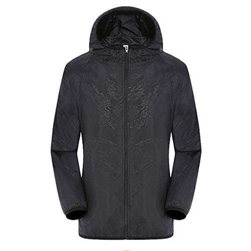 (DEATU Men's & Women Raincoat Hooded Windbreaker Lightweight Jackets Outdoor Sport Windproof Ultra-Light Rainproof Tops(Black,M))