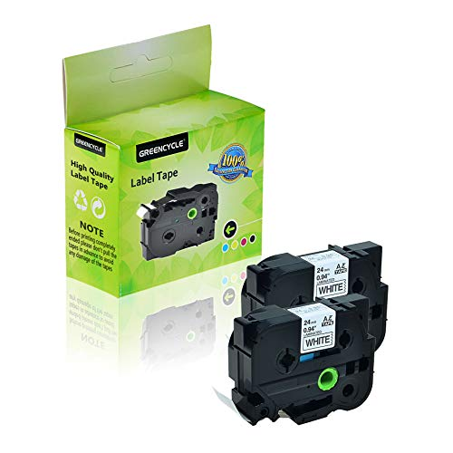 GREENCYCLE 2-Pack Compatible 1 Inch 24mm Black on White Cassettes TZe251 TZe-251 TZ-251 TZ251 Standard Laminated Label Tape for Brother P Touch PTD600 PTP750W PTP710BT PTE550W PT1400 Label Makers