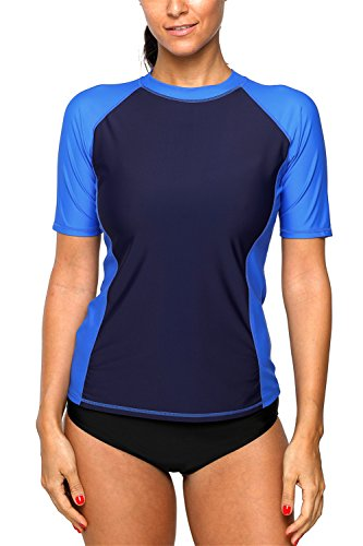 ALove UPF Swim Shirts for Women Colorblock Rashguard Short Sleeve Royal Medium