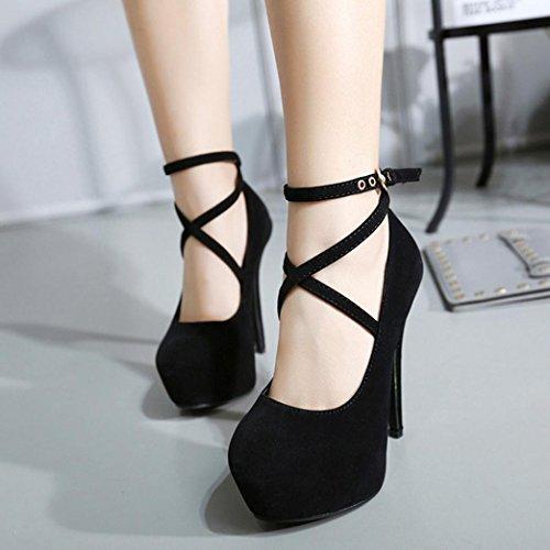 Talons Chaussures Mince Décontracté Femmes Sandales Chaussures Été Hauts Noir Printemps Simples Shallow à GreatestPAK Talons qW4X47