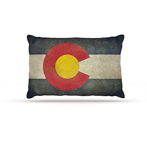 30 by 40\ Kess InHouse Bruce Stanfield State Flag of colorado  Black Red Fleece Dog Bed, 30 by 40
