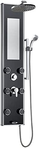 PULSE ShowerSpas 1022-B Leilani ShowerSpa Panel with 8 Rain Showerhead, 6 Dual-Function Body Spray Jets, 5-Function Hand Shower, Slide Bar, Mirror and Tub Spout, Black Tempered Glass with Anodized Frame and Chrome Fixtures