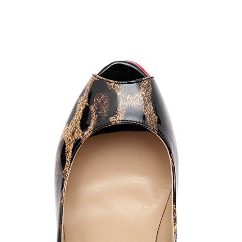 Wedding Leopard Peep Stiletto Party Pumps Platform Dress Women's High Sexy Toe On Slip Shoes Heels Onlymaker vZOwIxFqx