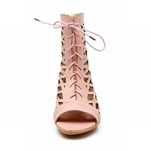 Carolbar Femmes Lacets Zip Peep Toe Mode Appartements Été Bottes Rose