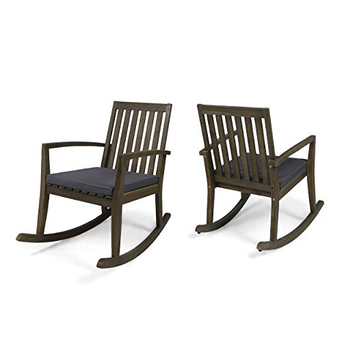 - Great Deal Furniture Yvonne Patio Rocking Chairs, Acacia Wood Frames, Cushioned, Traditional, Gray Finish with Dark Gray (Set of 2)