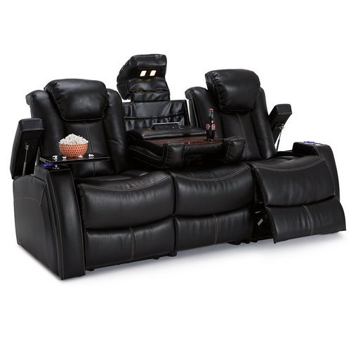 Lane Omega Leather Gel Home Media Sofa Power Recline - (Sofa w/ Flip Console, Black) by Lane