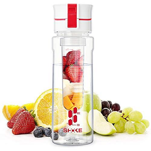 SHOKE Fruit Infuser Water Bottle Sports Bottle with Removable Fruit Infuser Filter Flip Top BPA Free Leak-Proof Durable Handle Dishwasher Safe 24 oz