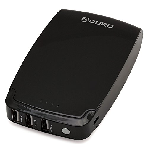 Aduro Powerup 11000Mah Portable External Battery Usb Charger With 3 Usb Ports  4 1 Amps Total Simultaneous Output  For Apple  Android  Galaxy  And All Smartphones  Black