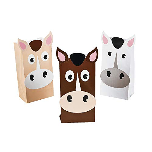 Fun Express - Horse Treat Bags - Party Supplies - Bags - Paper Treat Bags - 12 Pieces ()