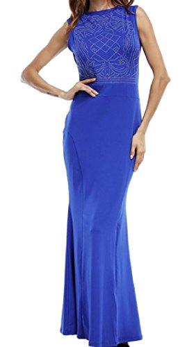 Solid Trim Fashion Sleeveless Slim Fit Full Colored Blue Coolred Dress Women Length Casual 5q6T11