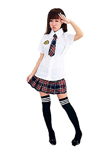 SSJ:Japan School Uniform Dress Cosplay Costume [US size 0,2,4,6,8] Tartan Check (0-2, (Anime Teen Costumes)