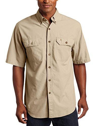 Carhartt Men's Fort Short Sleeve Shirt Lightweight Chambray Button Front,Dark Tan Chambray,Large
