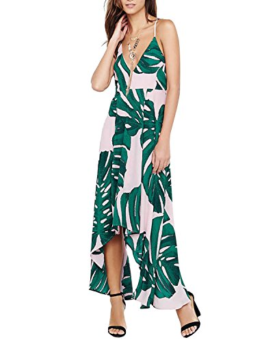 Leaf Print Dress (hodoyi Women's Tropical Palm Leaf Print Ruched Backless Wrap Cami Summer Dress(L,Green))