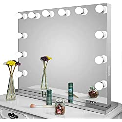 Aoleen Frameless Vanity Mirror with Light Hollywood Makeup Lighted Mirror with Dimmer Free Bulbs Gift (8065)