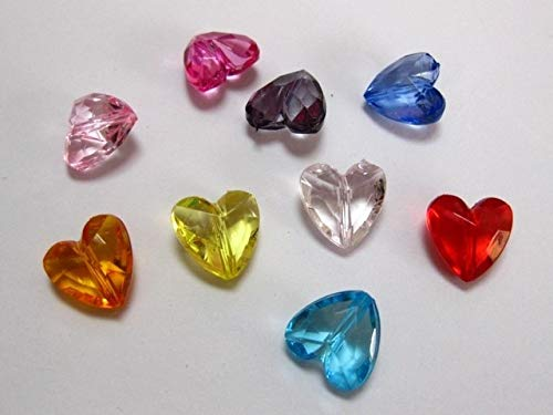 (Pukido 100 Mixed Color Transparent Acrylic Faceted Heart Beads Charms)