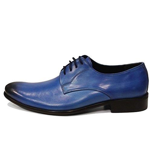 Oxfords Blito Cuir Main Modello Bleu Hommes Cuir pour Lacer Chaussures Italiennes Peint Cuir Handmade Vachette à des la de zdTxd