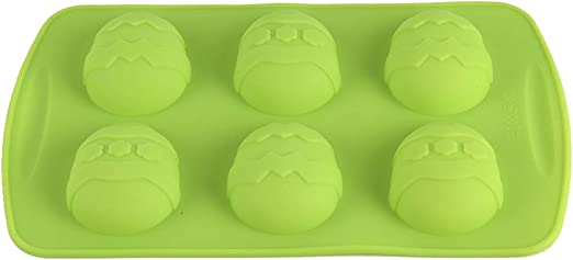 Large Blue Chichic 6 Cavity Easter Egg Shaped Silicone Mold Bakeware Mold Cake Pan Muffin Soap Mold Kitchen Dining Bakeware