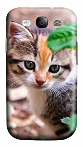 Kitten Behind Leafs PC Custom Design Case Cover for Samsung Galaxy S3 / SIII / I9300