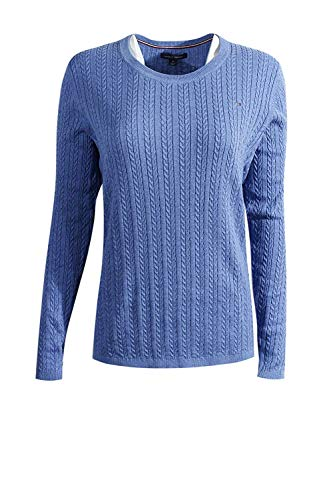 Tommy Hilfiger Womens Cable Knit Cotton Logo Sweater, Blue (L)