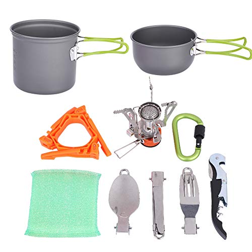 Alomejor Cooking Set Portable Picnic Stockpot Pan Cookware for Outdoor Cooking Camping Hiking