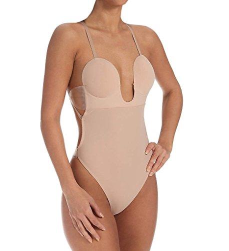 Fashion Forms Women's U Plunge Backless Strapless Bodysuit, Nude, Medium