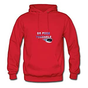 Chic Designed Red Women Go Puck Yourself Regular Hoodies X-large