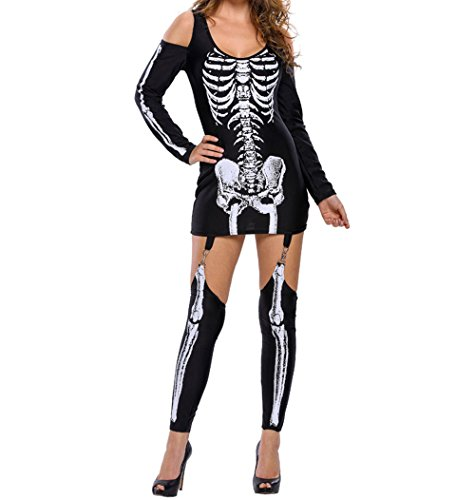 Sexy Skeleton Makeup (Yanqueens Skeleton Halloween Costume for Women Off-shoulder Dress Cosplay Carnival Party)