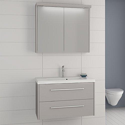 Exkl. Badezimmer Set weiß Spiegelschrank Waschplatz Badmöbel Gäste ...