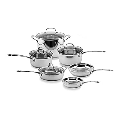 BergHOFF EarthChef Premium Copper Clad 10-Piece Cookware Set with Glass Covers l Stainless Steel and Tempered Glass