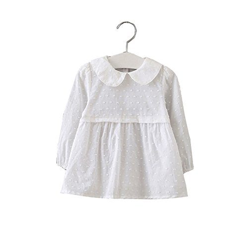 Long Sleeve Baby Doll Top (XUNYU Baby Girls Infant Toddler Doll Collar White Long Sleeve Princess Dress)