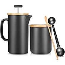 NeoCasa Ceramic French Press Pot/Coffee Plunger/Tea Maker/Cafetera Francesa(Large, 24 oz.) Classic, w/Grounds Canister   Non-Porous Stoneware   Complimentary Measuring & Stirring Spoons
