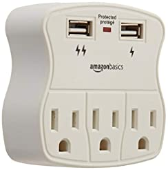 AmazonBasics 3-Outlet Surge Protector wi...