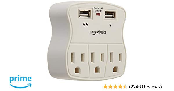 amazon com: amazonbasics 3-outlet surge protector with 2 usb ports: home  audio & theater