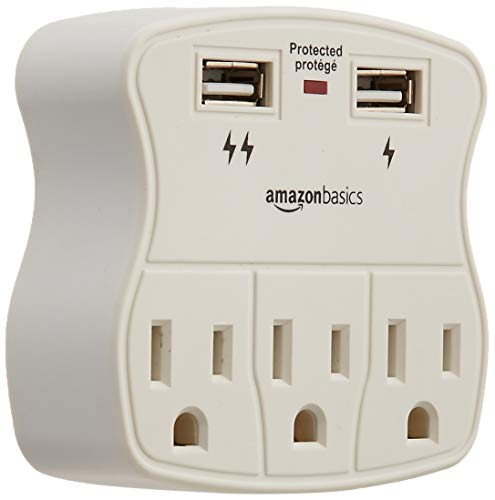- AmazonBasics 3-Outlet Surge Protector with 2 USB Ports