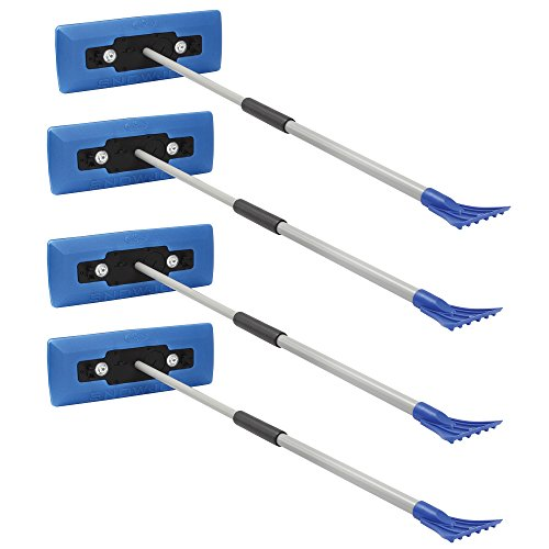 Snow Joe Illum-n-Broom LED Lighted 4-in-1 Snow Broom + Ice Scraper (4 Pack) by Snow Joe