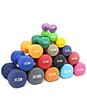 XN8 Neoprene Dumbbell Set of 2 Hand Weights, Non-Slip, Anti-roll, Hex Shape, Free Weight Set for Muscle Toning, Strength Building, 1Lb-22Lb