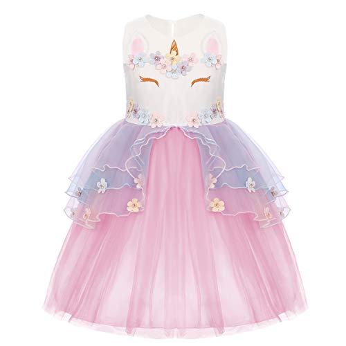 Baby Girls Flower Unicorn Christmas Costume Birthday Cosplay Fancy Princess Dress up Pageant Cake Smash Photo Shoot Outfits Pink Unicorn Dress 6-7 Years ()