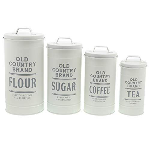 (Barnyard Designs Decorative Nesting Kitchen Canisters with Lids Galvanized White Metal Rustic Vintage Farmhouse Country Decor for Flour Sugar Coffee Tea Storage (Large Set of 4))
