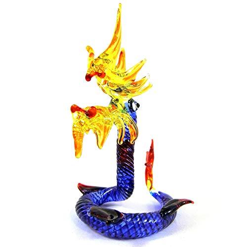 Spk Art Handmade Craft Blown Glass Lampwork Snake Naka Figurine Glass Sculpture Home Resort -