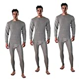 Long John Thermal Underwear Set for Men Waffle Knit Top and Bottom Thermals Wear (Grey (3pack), Medium)