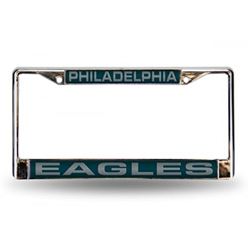 Rico Industries NFL Philadelphia Eagles Laser Cut Inlaid Standard Chrome License Plate (Nfl Laser Cut License Plate)