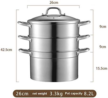 NAFE 3 étages de cuisson vapeur 3 pièces en acier inoxydable avec base antiadhésive et couvercle en verre pour cuisson à la nourriture, pour Halloween, pour les aliments - 26 cm