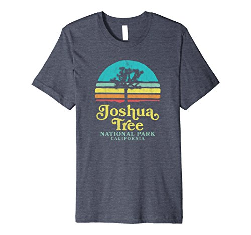 Tree Graphic - Mens Vintage Joshua Tree National Park Retro T-Shirt Large Heather Blue