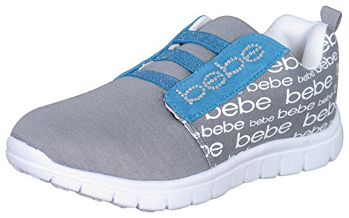 bebe Girls Athletic Sneakers With Printed Heat Seals, 2/3, Grey/Turquoise' (Slip On Girls Shoes Size 2)