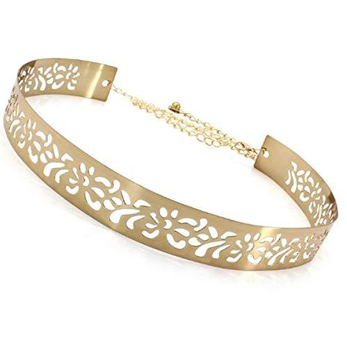 SATYAM KRAFT 1 Pcs Women's Metal 3.5 cm Wide Hollow Design Plate Adjustable Ladies Belt (Golden)